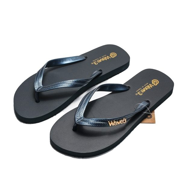 WAVE3 藍金 金屬LOGO 夾腳 人字拖  海灘 拖鞋 男生 (布魯克林) 16100703