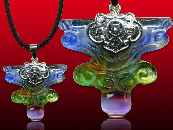 鹿港窯~開運古法水晶琉璃銀飾項鍊~如意◆附精美包裝◆免運費送到家