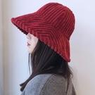 漁夫帽帽子韓版潮保暖燈芯絨加厚盆帽【步行者戶外生活館】