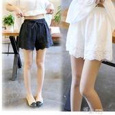 夏日系純棉寬鬆刺繡鏤空花邊短褲內搭褲安全褲打底褲可外穿 深藏blue
