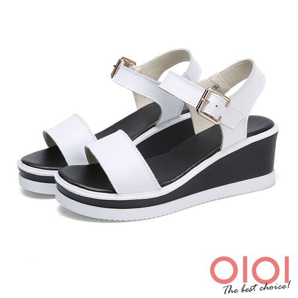 楔型涼鞋 簡約一字真皮楔型涼鞋(白)*0101shoes【18-5012w】【現+預】