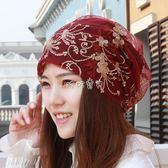 月子帽 新款花朵頭巾帽女士防塵帽光頭套頭包頭月子帽蕾絲空調堆堆帽 珍妮寶貝