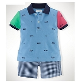 【北投之家】男寶寶套裝二件組 polo杉上衣+短褲 藍拼接 | Polo Ralph Lauren童裝 (嬰幼兒/小孩/baby)