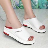尾牙年貨 涼鞋真皮女鞋高跟平底厚底休閒魚嘴時尚拖鞋