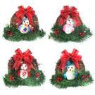 【摩達客】聖誕彩雪人樹藤花圈對組(一組兩入)(四選二隨機出貨)