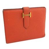 【奢華時尚】HERMES BEARN 橘色牛皮金色H釦卡片零錢短夾(八五成新)#24736