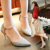高跟鞋 - 涼鞋高跟鞋細跟尖頭水鉆一字扣帶鞋子女士包頭涼鞋【韓衣舍】