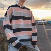 促銷款男士秋季情侶條紋衛衣寬鬆潮流外套學生免運新款上衣秋裝文藝加絨刷毛