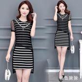 新款大碼女裝A字裙 媽媽裝氣質顯瘦假兩件條紋蕾絲洋裝 qf4073【黑色妹妹】