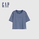 Gap女童 Logo純棉質感厚磅短袖T恤 770922-藍色條紋