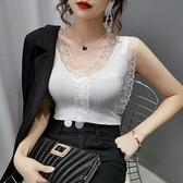網紗T恤 針織吊帶背心女外穿美背性感蕾絲邊打底衫內搭大碼無袖冰絲上衣夏 交換禮物