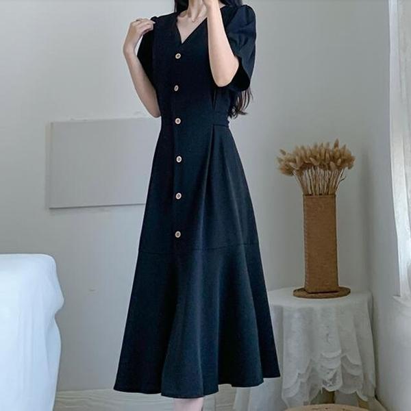 洋裝 長裙 V領 中大尺碼 L-4XL新款大碼收腰顯瘦中長款連身裙洋氣減齡R032-5157.胖胖唯依