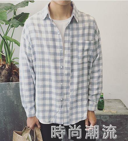 格紋襯衫日系薄款春季潮流格子長袖襯衫韓版寬鬆情侶襯衣外套 時尚潮流