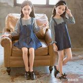 長袖洋裝 女童洋裝長袖正韓童裝小女孩洋氣公主裙兒童假兩件套牛仔裙 童趣潮品