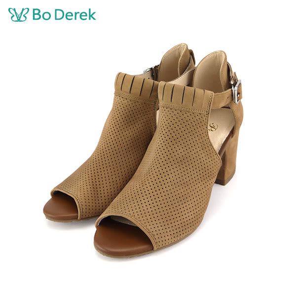 【Bo Derek 】圓孔鏤空魚口高跟鞋-咖啡色