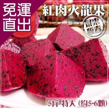 預購-家購網嚴選 屏東紅肉火龍果 5斤x4盒 特大 (約5-6顆/盒)【免運直出】
