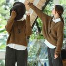 毛衣-訂製混紗羊毛圓領咖色/設計家 Z8907