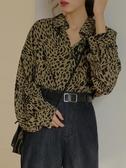 紅人館豹紋襯衫女秋裝新款2018韓范寬鬆復古chic襯衣長袖上衣外套