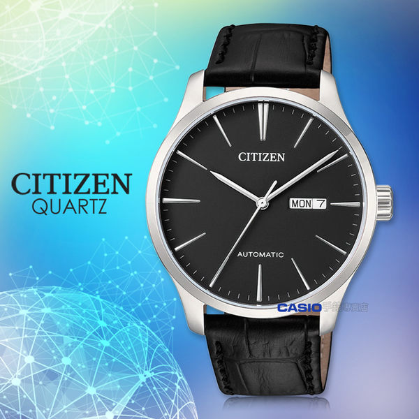 CITIZEN 星辰 手錶專賣店 NH8350-08E 機械錶 男錶 不銹鋼錶殼 皮錶帶 水晶玻璃錶面  防水 黑面丁字