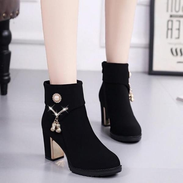 粗跟短靴 雪地靴 中跟短靴女粗跟2021新款秋冬踝靴加絨短筒高跟鞋絨面顯瘦棉靴 3C數位百貨