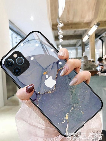 紫色大理石適用于蘋果12手機殼iphone12promax套11pro新款13高級感x網紅 迷你屋