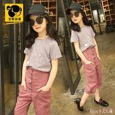 夏季女童套裝 新款中大尺碼短袖T恤兩件式中大童時髦潮 HT17185