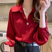 寬鬆垂感職業襯衫長袖氣質雪紡襯 衣輕熟設計感小眾【少女顏究院】