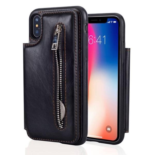手機配件 適用iPhone X多功能拉鏈包插卡手機套翻蓋支架蘋果iphone8保護殼手機殼 手機套 皮套