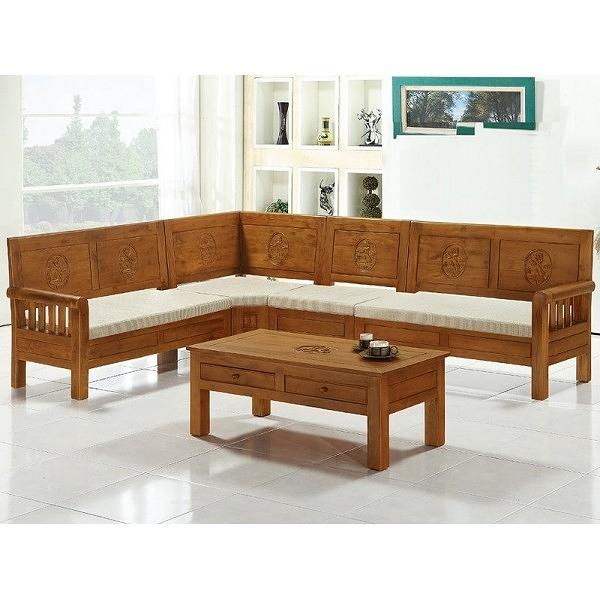 沙發組 CV-306-1 娜拉柚木L型組椅 (含坐墊.大茶几)【大眾家居舘】