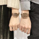 表女品質休閒簡約時尚潮流學生男女正方形日歷情侶款手表