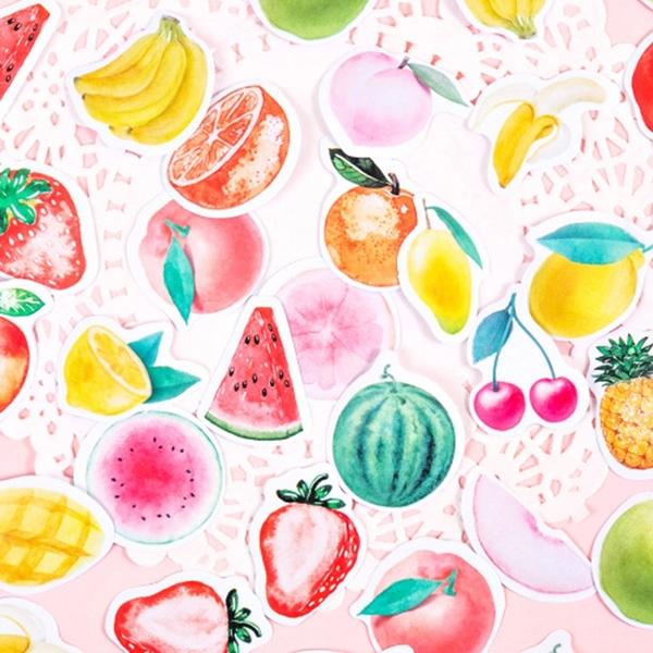 【BlueCat】水果糖罐 盒裝貼紙 手帳貼紙 (46枚入) 貼紙