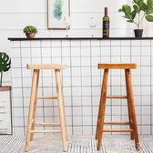 北歐原木酒吧椅家用實木吧台椅餐桌凳高腳凳子簡約現代吧椅高腳椅 WD初語生活館