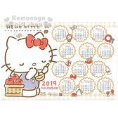 〔小禮堂〕Hello Kitty 2019 塑膠桌墊年曆《白.拿湯匙.站姿》行事曆.月曆.餐墊 4718598-72610