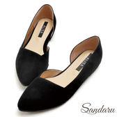 訂製鞋 優雅素面絨布側挖空尖頭鞋-艾莉莎Alisa【03A3366】黑色下單區