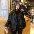 早春2020新款韓版復古黑色機車服百搭夾克開衫翻領皮衣短外套女裝YQ403