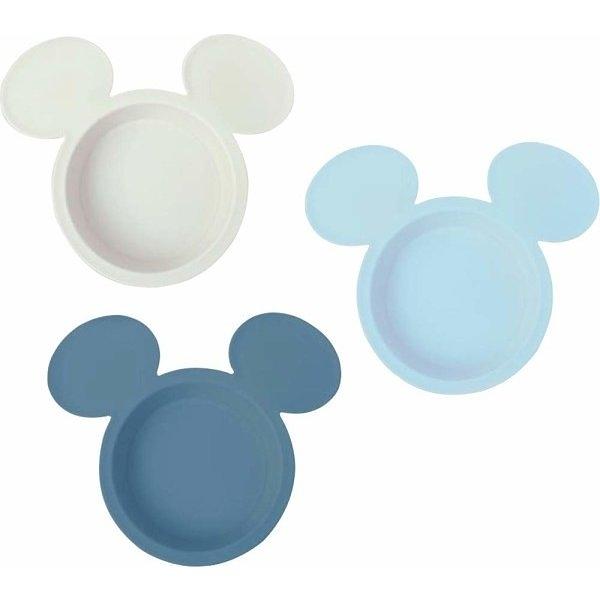 〔小禮堂〕迪士尼 米奇 日製兒童大臉造型塑膠碗組《3入.藍米》飯碗.點心盤 4904121-30615