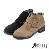 B-2A808 女款粗低跟短靴  絨布釦飾內側拉鍊粗低跟短靴【PRETTY】