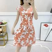 短袖洋裝 小個子棉綢洋裝夏時尚外穿年輕中長款小清新碎花短袖人造棉裙子【快速出貨】