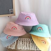 糖果色彩虹刺繡雙面可戴漁夫帽 帽子 童帽
