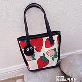 帆布包-2021夏天簡約百搭文藝草莓單肩包女可愛少女帆布包手提袋托特包