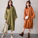 MIUSTAR 正韓-休閒寬鬆圓領側開衩棉質洋裝(共2色)【NH3114RE】預購
