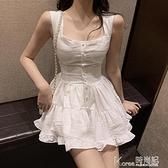 連身裙 2020年新款夏裝女氣質修身顯瘦性感吊帶高腰荷葉邊裙擺連身褲裙子