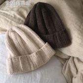 女毛帽女毛帽hic粗紋簡約針織毛線帽子 米蘭潮鞋館 米蘭潮鞋館