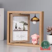 北歐鐵藝相框擺臺木質雙面相架簡約現代照片擺件【福喜行】