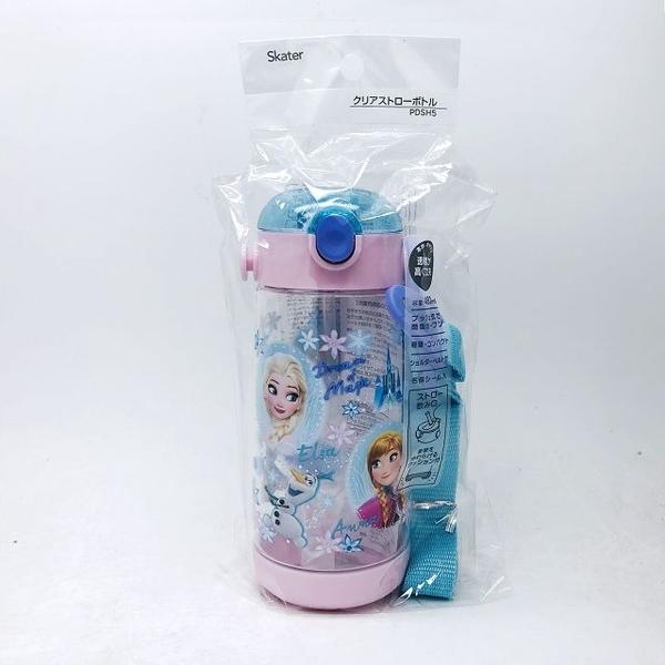日本 Skater 冰雪奇緣 透明按壓式 吸管水壺PDSH5/480ml(1479) -超級BABY
