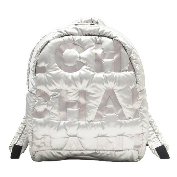 CHANEL 香奈兒 銀色logo壓紋尼龍空氣後背包  Doudoune Backpack 【BRAND OFF】