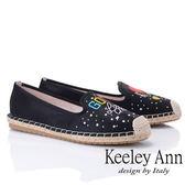 ★2019春夏★Keeley Ann慵懶盛夏 不對稱電繡造型草編懶人鞋(黑色)-Ann系列