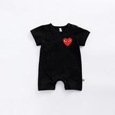 嬰兒衣服夏季短袖薄款男寶寶連身衣哈衣純棉爬服黑色白色0-12個月 幸福第一站