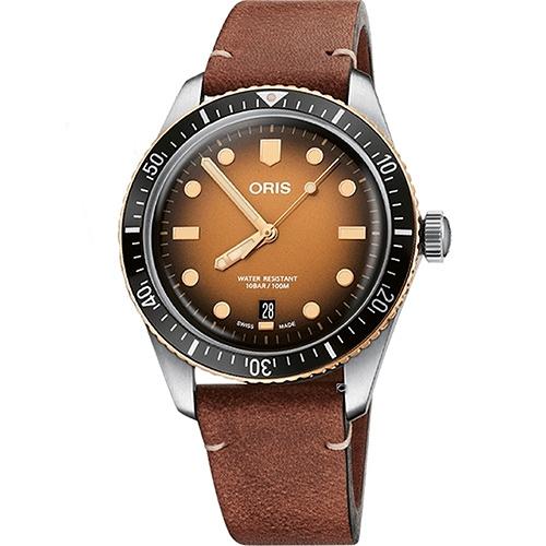 ORIS豪利時 DIVERS SIXTY-FIVE落日餘暉青銅機械腕錶 0173377074356-0752045