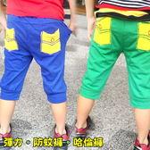 【韓版童裝】彈力立體繡線口袋棉褲/防蚊褲/哈倫褲-綠/藍-二色可選【BB16022014】